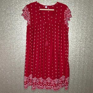 Old Navy Sz 1X Plus Red Boho Embroidered Dress